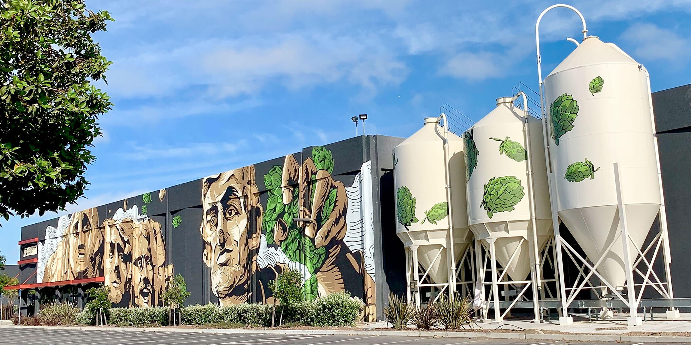 The mural painted on the outside of the 21st Amendment Brewery in San Leandro, California