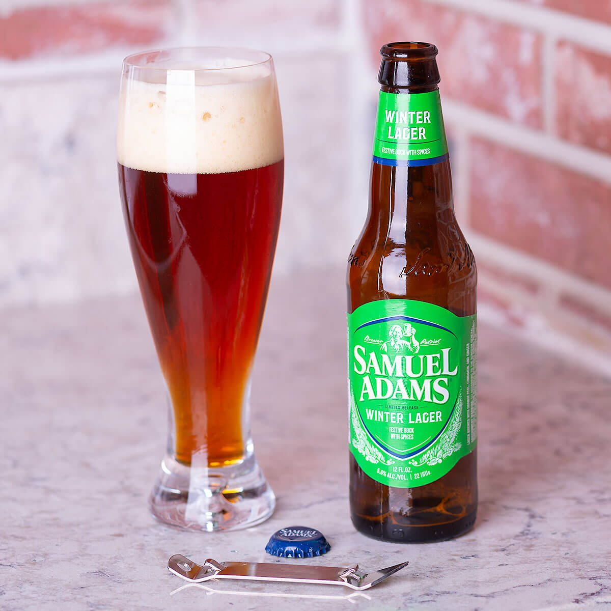 Samuel Adams Winter Lager is a German-style Bock by the Boston Beer Company that mixes noble hops, baked bread, orange peel, spices.