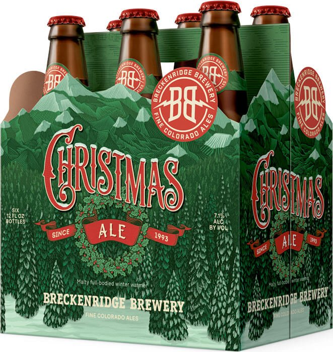 Packaging design for six packs of 12 oz. bottles of the Christmas Ale by Breckenridge Brewery