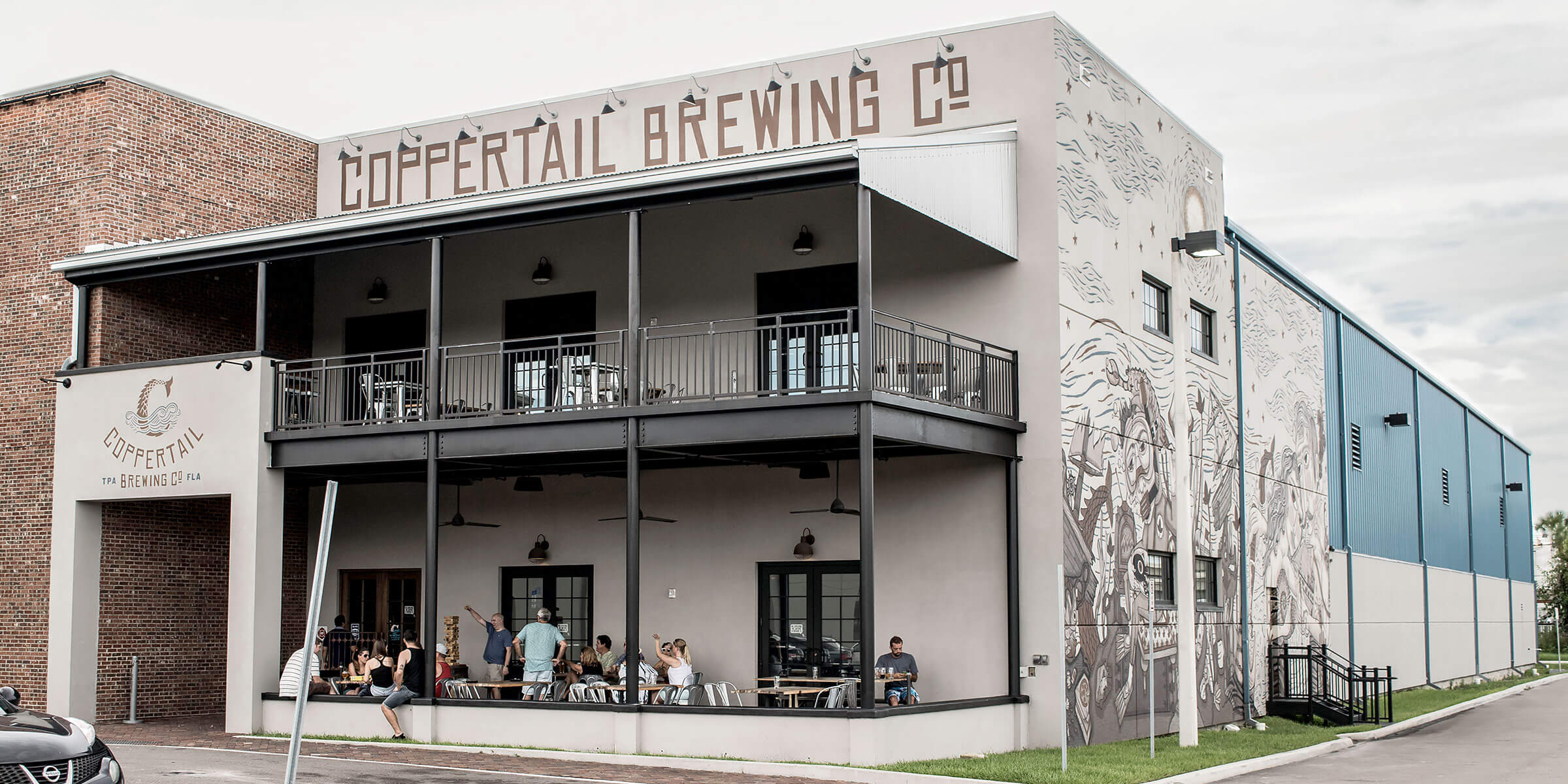 Outside the production brewery and tasting room at Coppertail Brewing Co. in Tampa, Florida