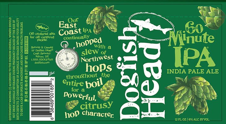 Label art for the 60 Minute IPA by Dogfish Head Craft Brewery