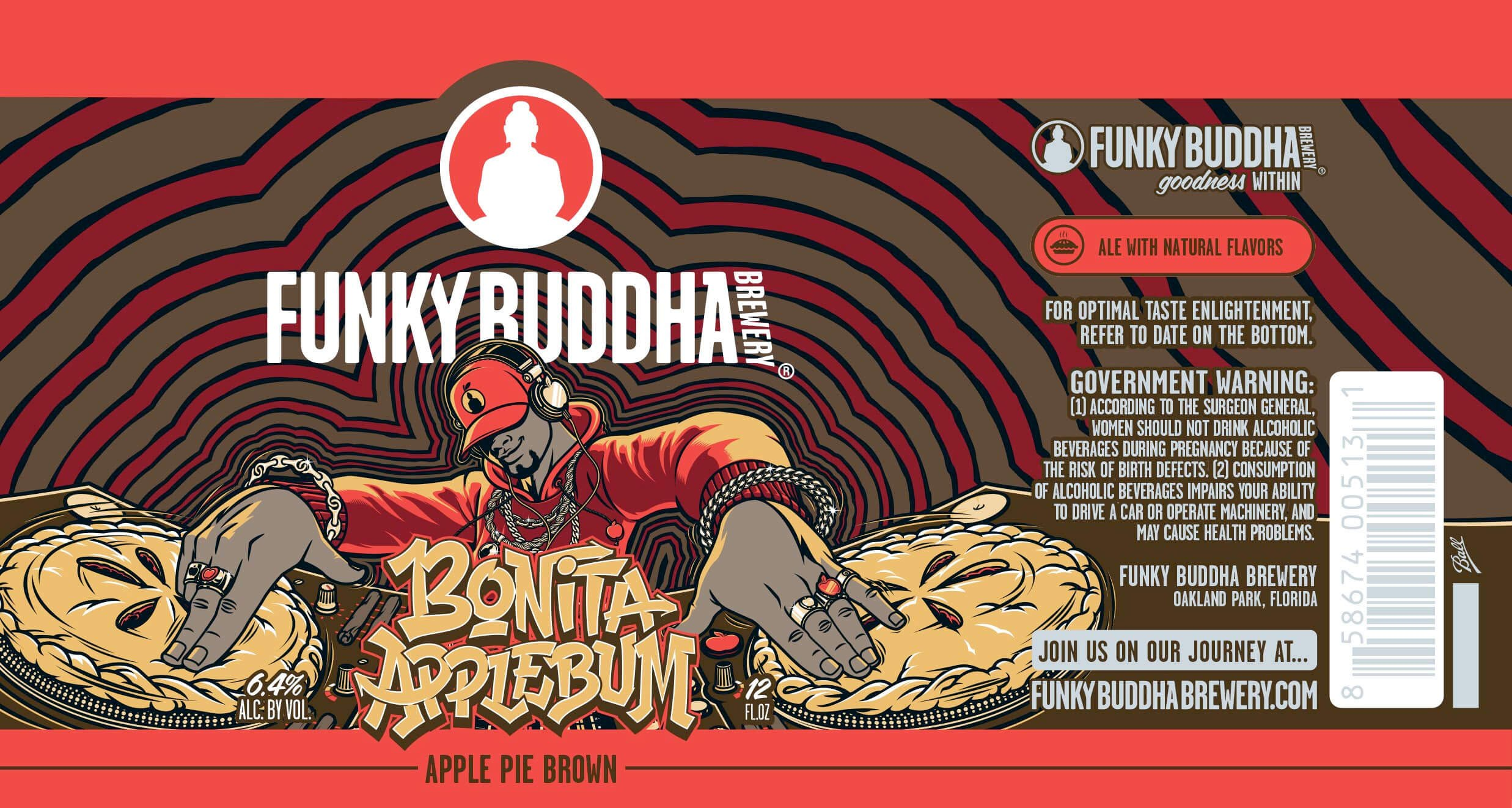Label art for the Bonita Applebum by Funky Buddha Brewery