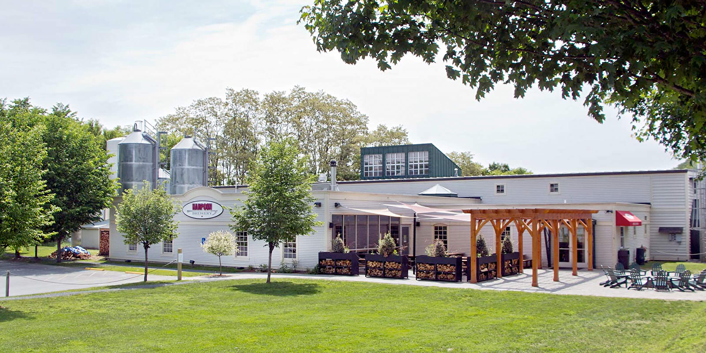 Outside the Beer Hall at Harpoon Brewery in Windsor, Vermont