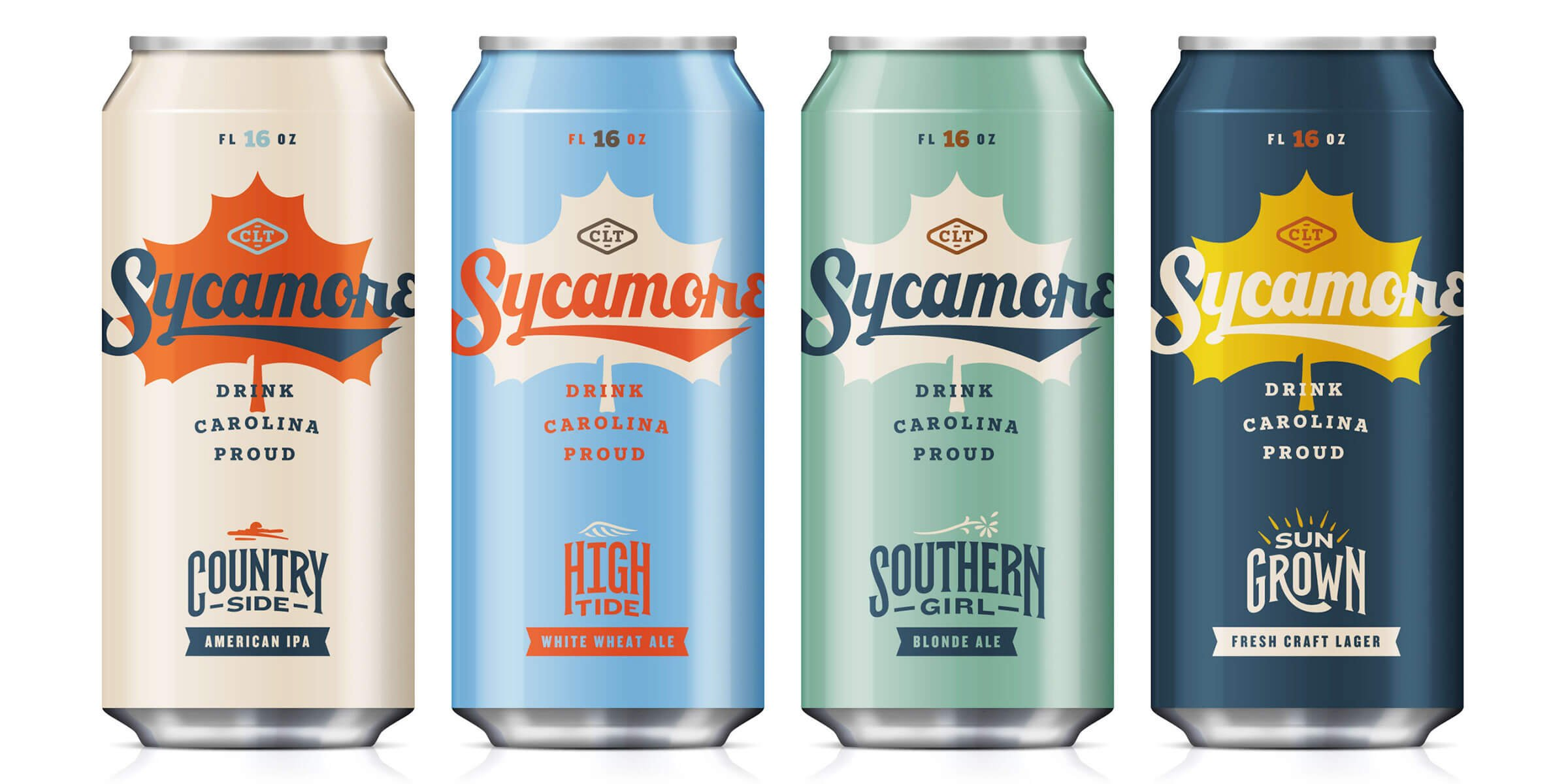 Lineup of canned beers offered by Sycamore Brewing