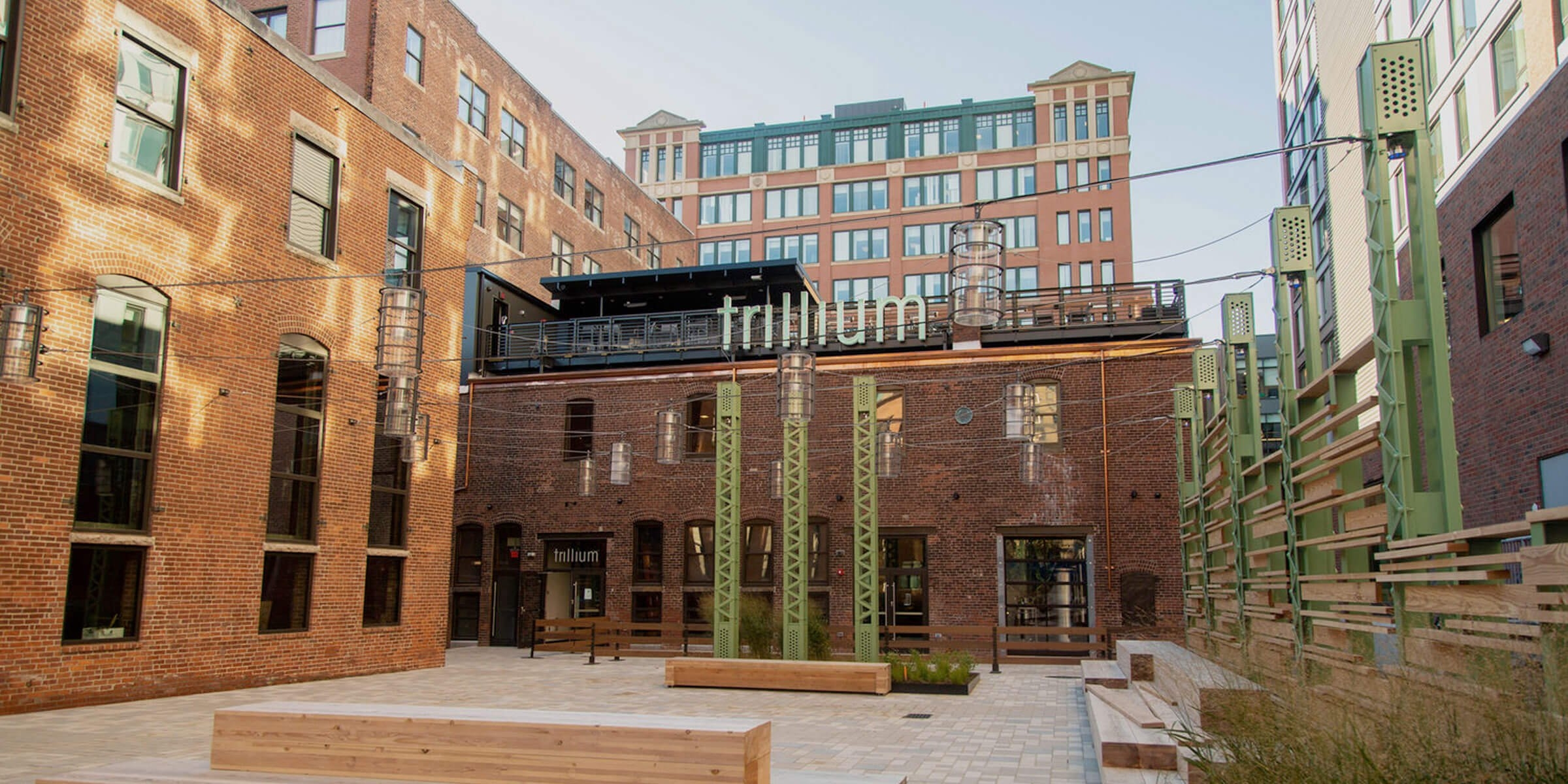 Outside the entrance to the Trillium Brewing Company Fort Point location in Boston, Massachusetts