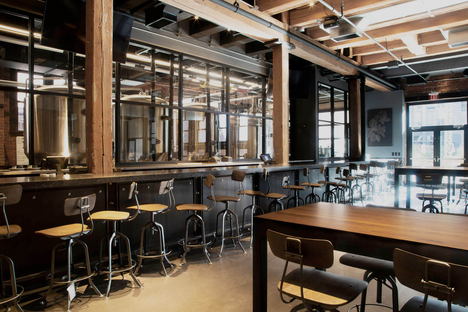 Inside the taproom of the Trillium Brewing Company Fort Point location in Boston, Massachusetts