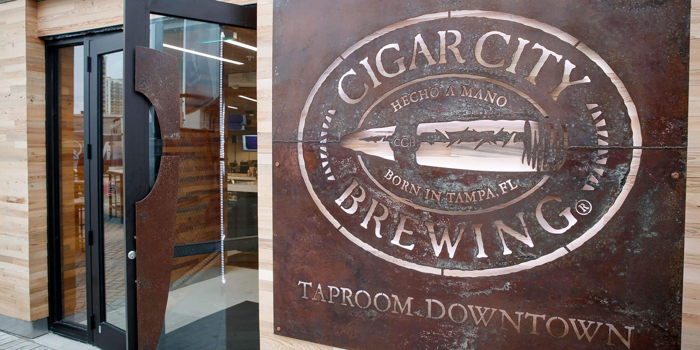 Outside the entrance to the new Cigar City Brewing taproom at the AMALIE arena in Tampa, Florida