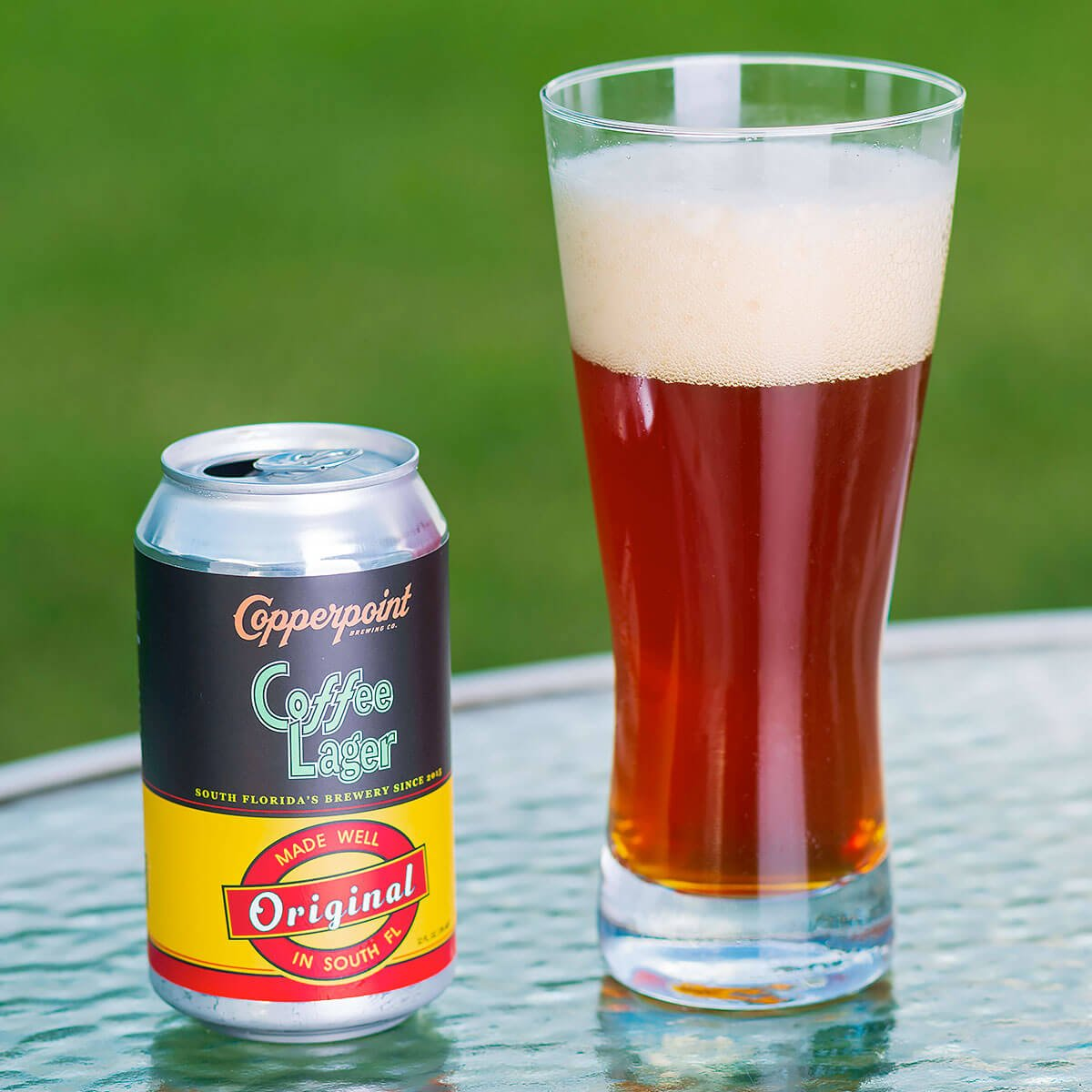 Coffee Lager is an American Amber Lager by Copperpoint Brewing Company that blends coffee flavor with baked bread and caramel.