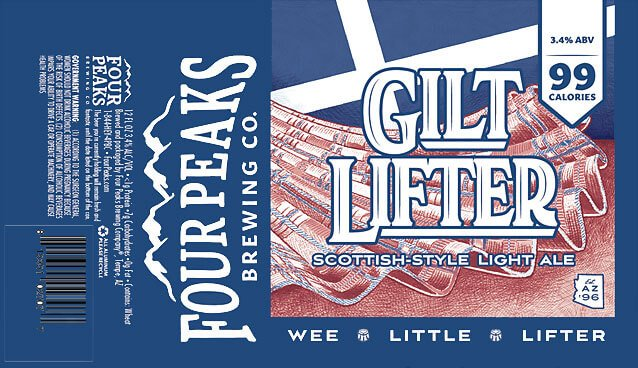 Label design for 12 oz. cans of the Gilt Lifter by Four Peaks Brewing Co.