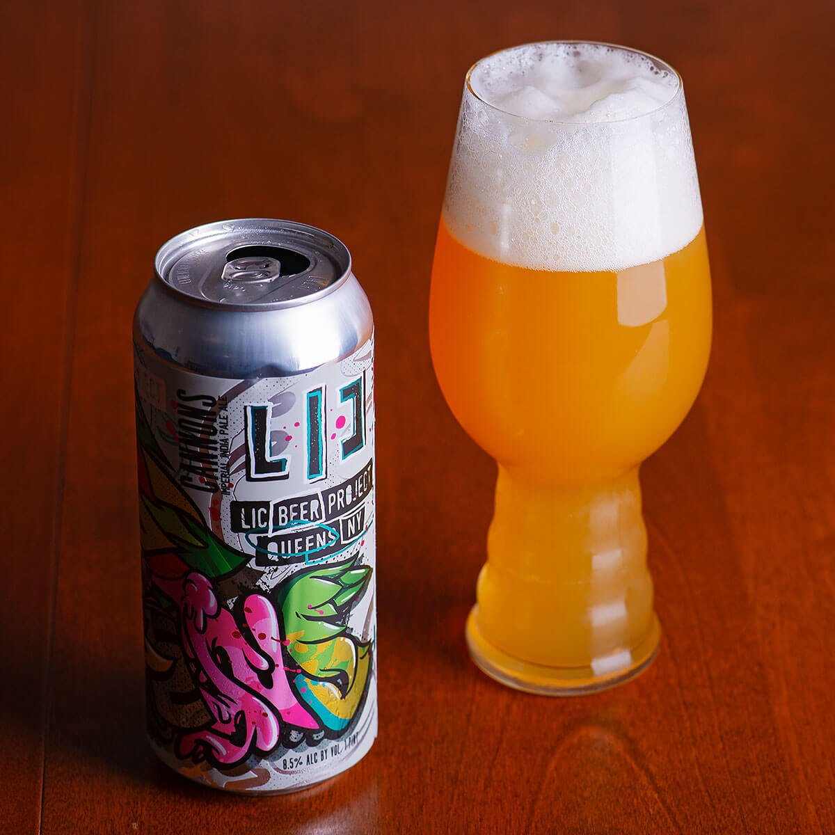Cannons is a New England-style American Double IPA by LIC Beer Project that blends hoppy citrus and pine with stone fruit and biscuit.