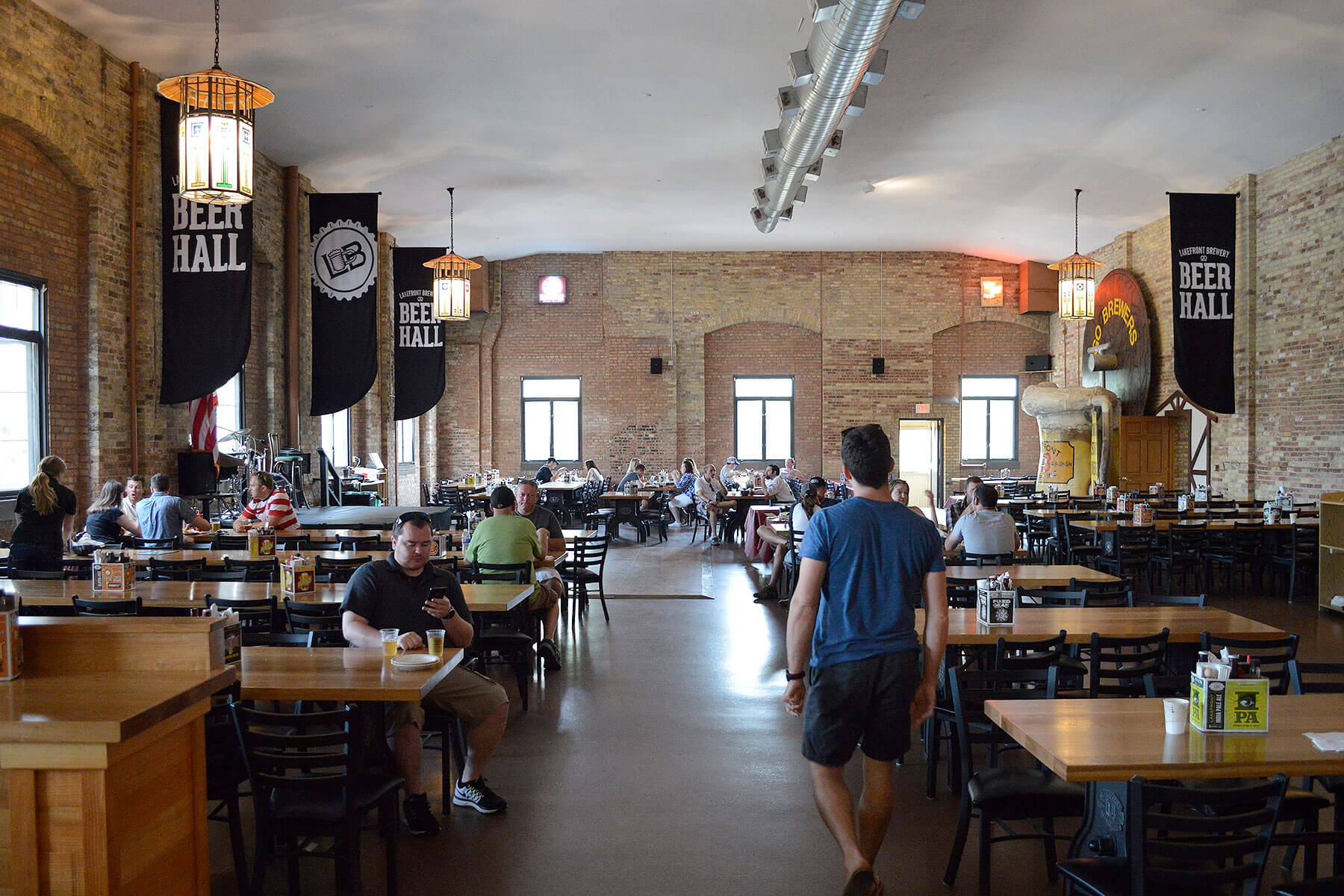 Inside the taproom at Lakefront Brewery in Milwaukee, Wisconsin