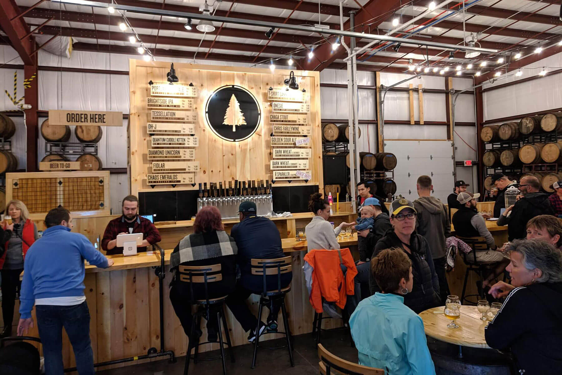 Inside the taproom at Lone Pine Brewing Company location in Gorham, Maine