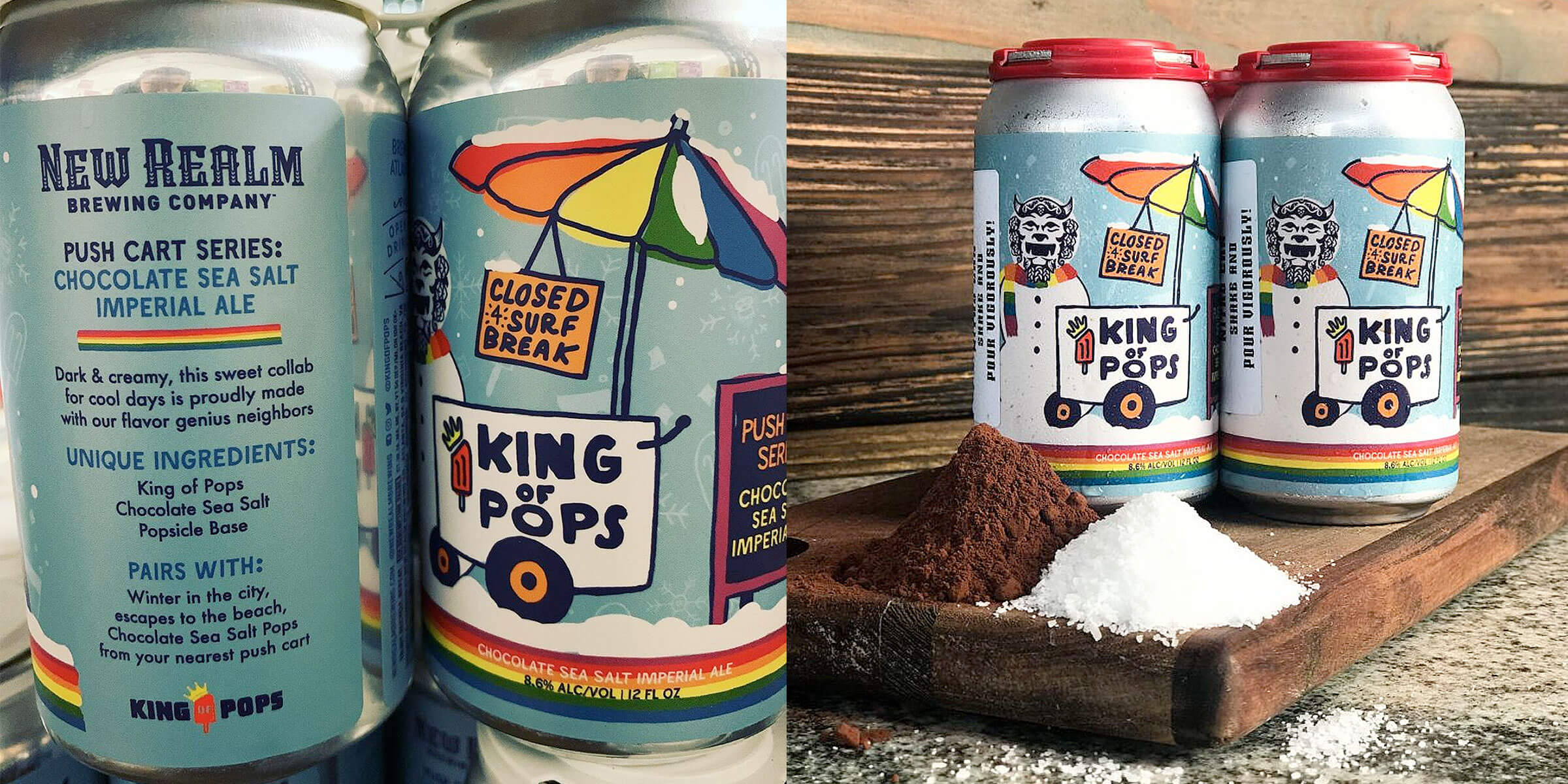 King of Pops and New Realm Brewing Company aim to warm things up with the second release in the Push Cart Series, Chocolate Sea Salt Imperial Ale.