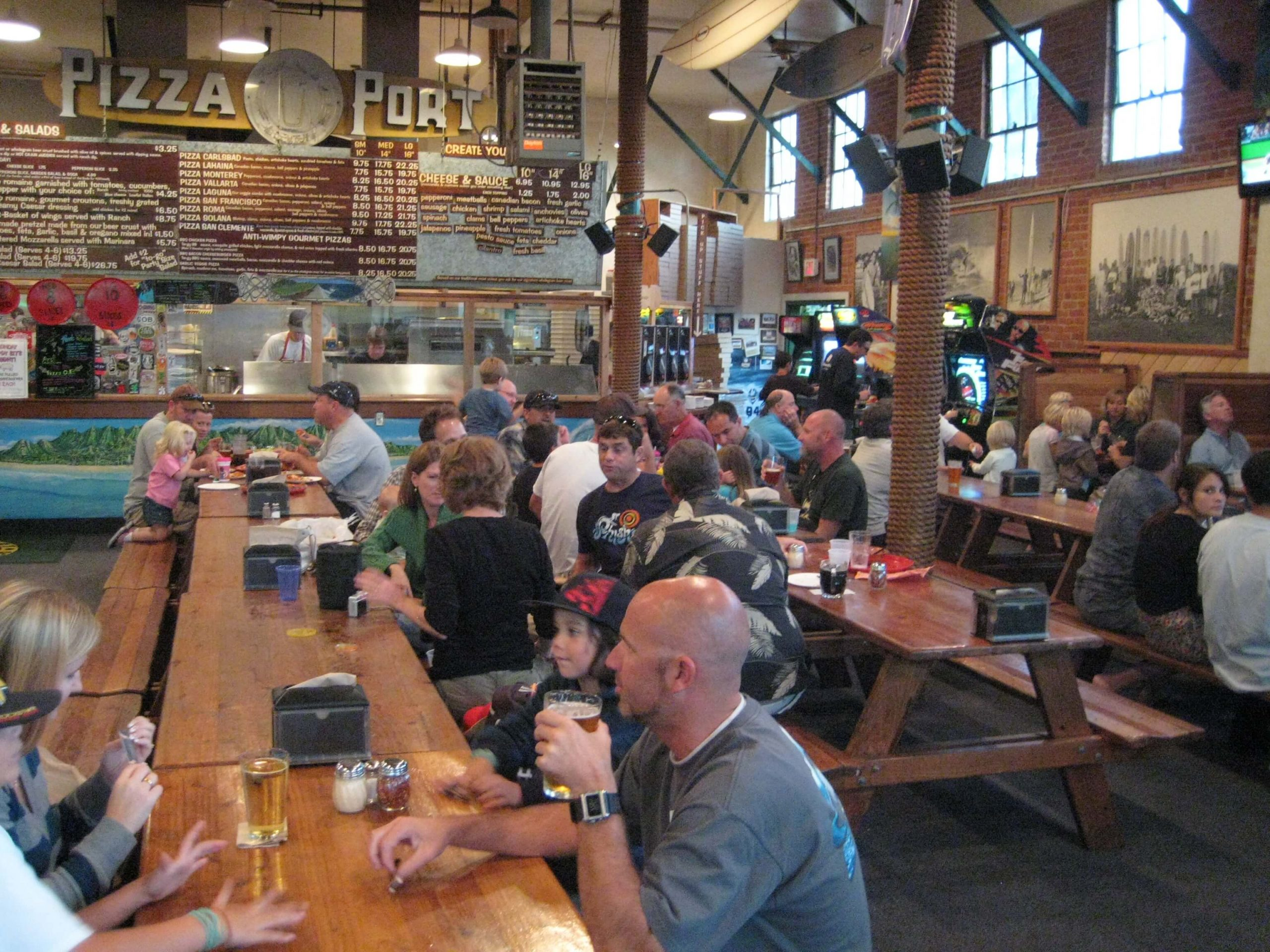 Inside the Pizza Port Brewing Company taproom in Carlsbad, California