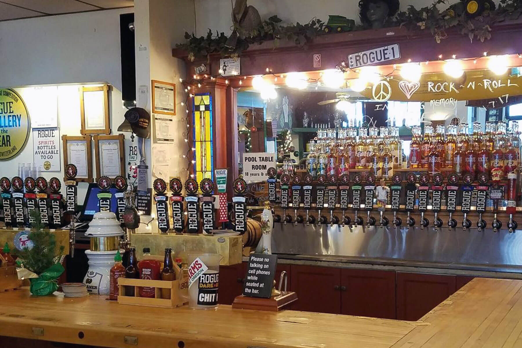 Inside the Rogue Ales taproom in Newport, Oregon