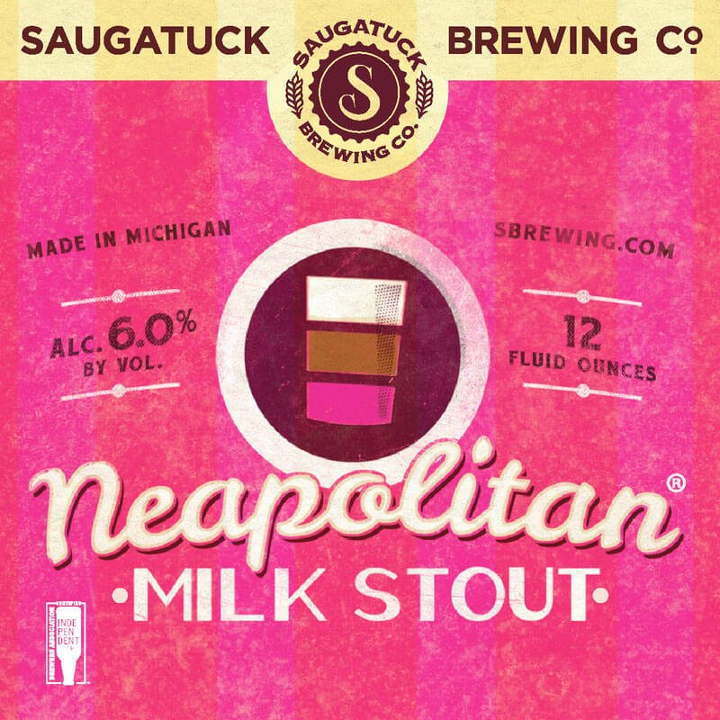Label art for the Neapolitan Milk Stout by Saugatuck Brewing Co.