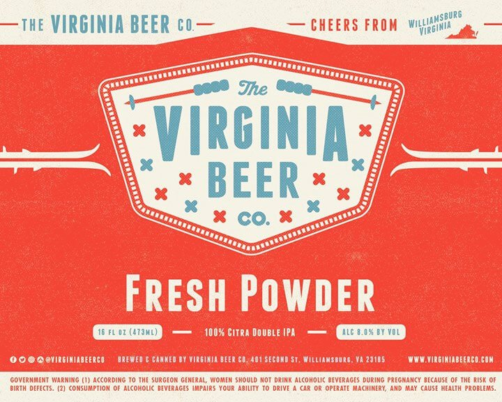 Label design for 16 oz. cans of the Fresh Powder by The Virginia Beer Company