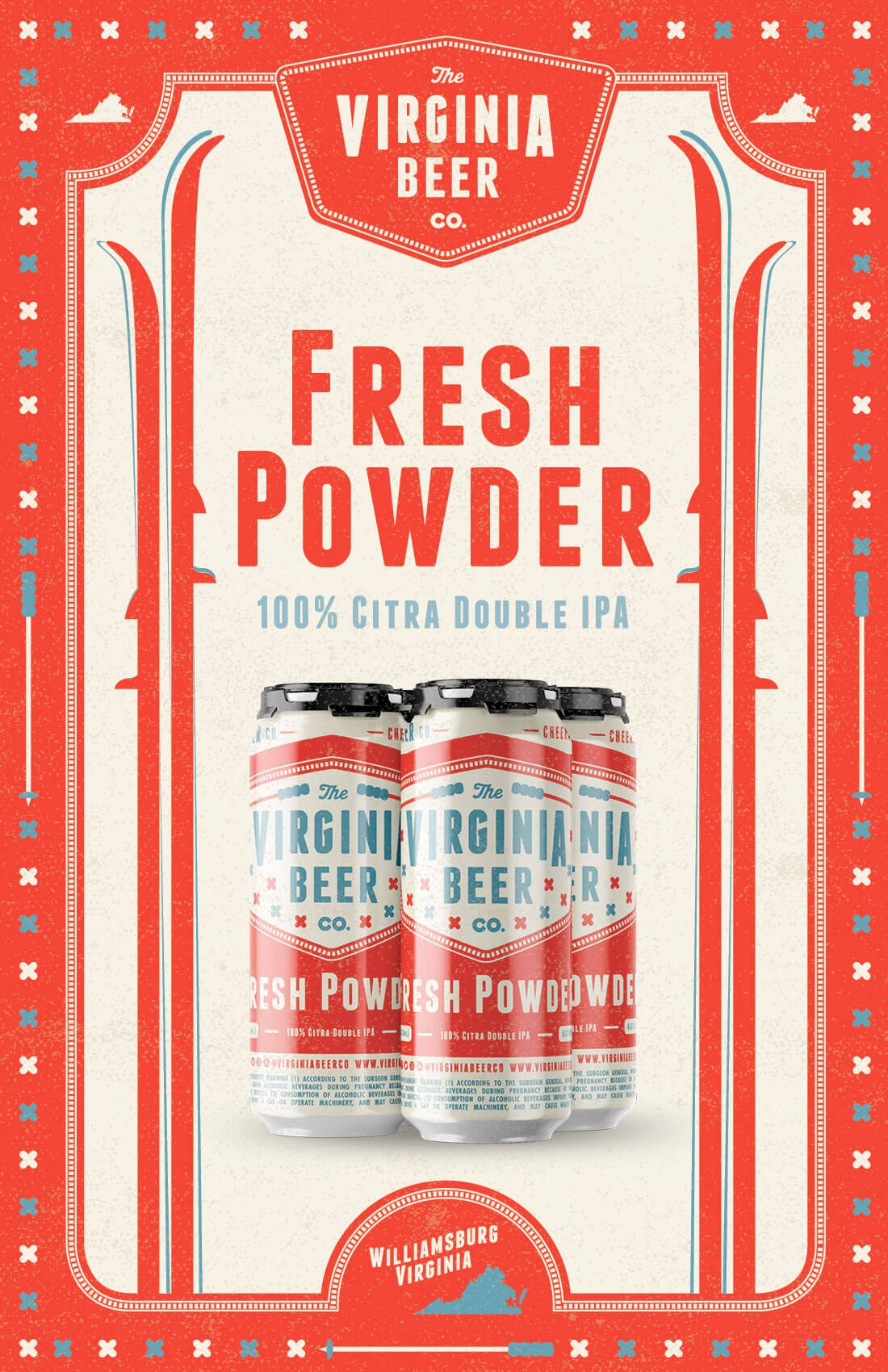 Poster art promoting the return of Fresh Powder by The Virginia Beer Company
