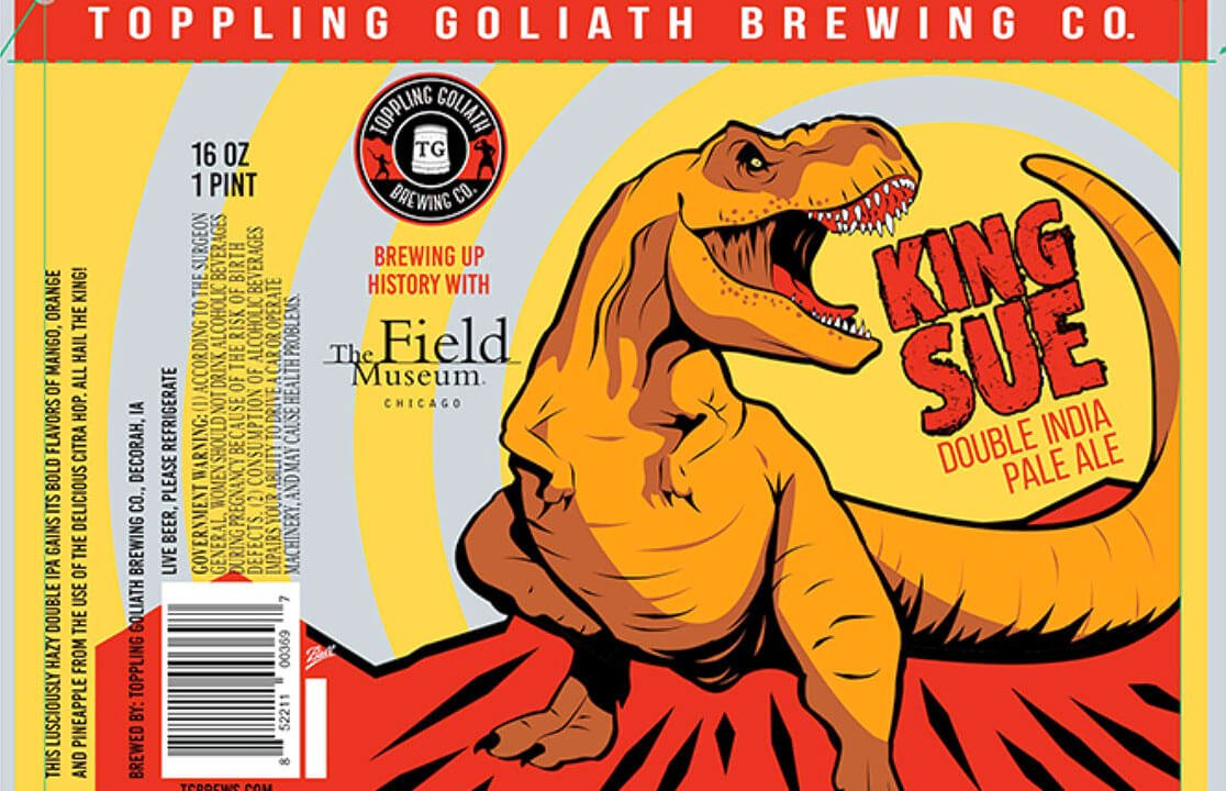 Label art for the King Sue by Toppling Goliath Brewing Co.