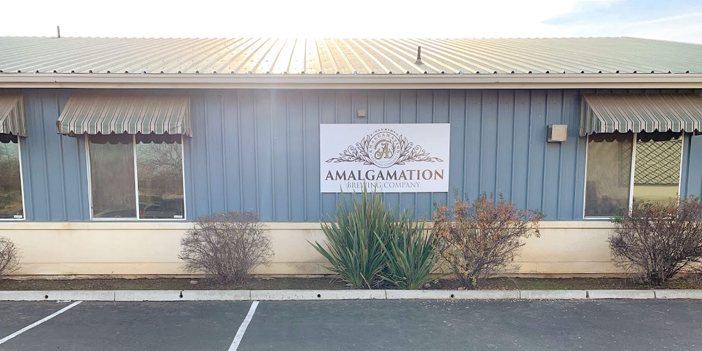 Outside the taproom at Amalgamation Brewing Company in Fresno, California