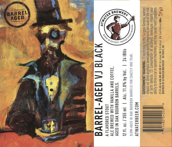 Label design for 12 oz. bottles of the Barrel-Aged VJ Black Imperial Stout by Atwater Brewery
