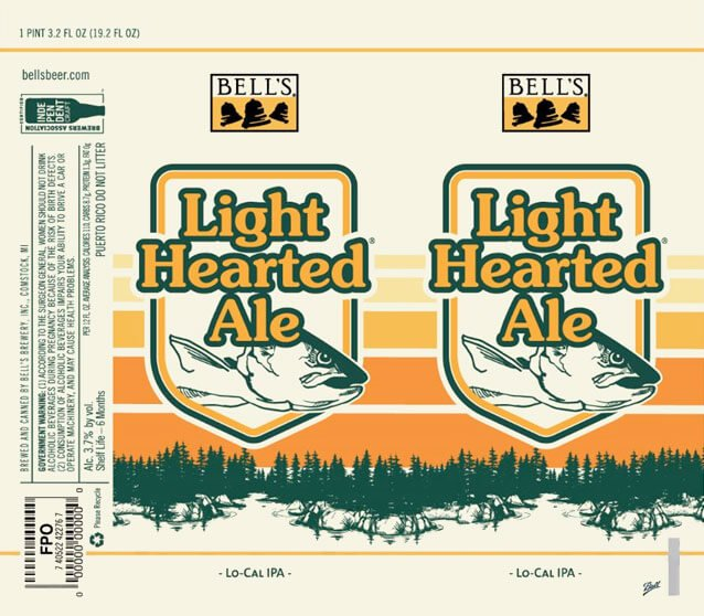 Label design for 19.2 oz. cans of the Light Hearted Ale by Bell's Brewery, Inc.