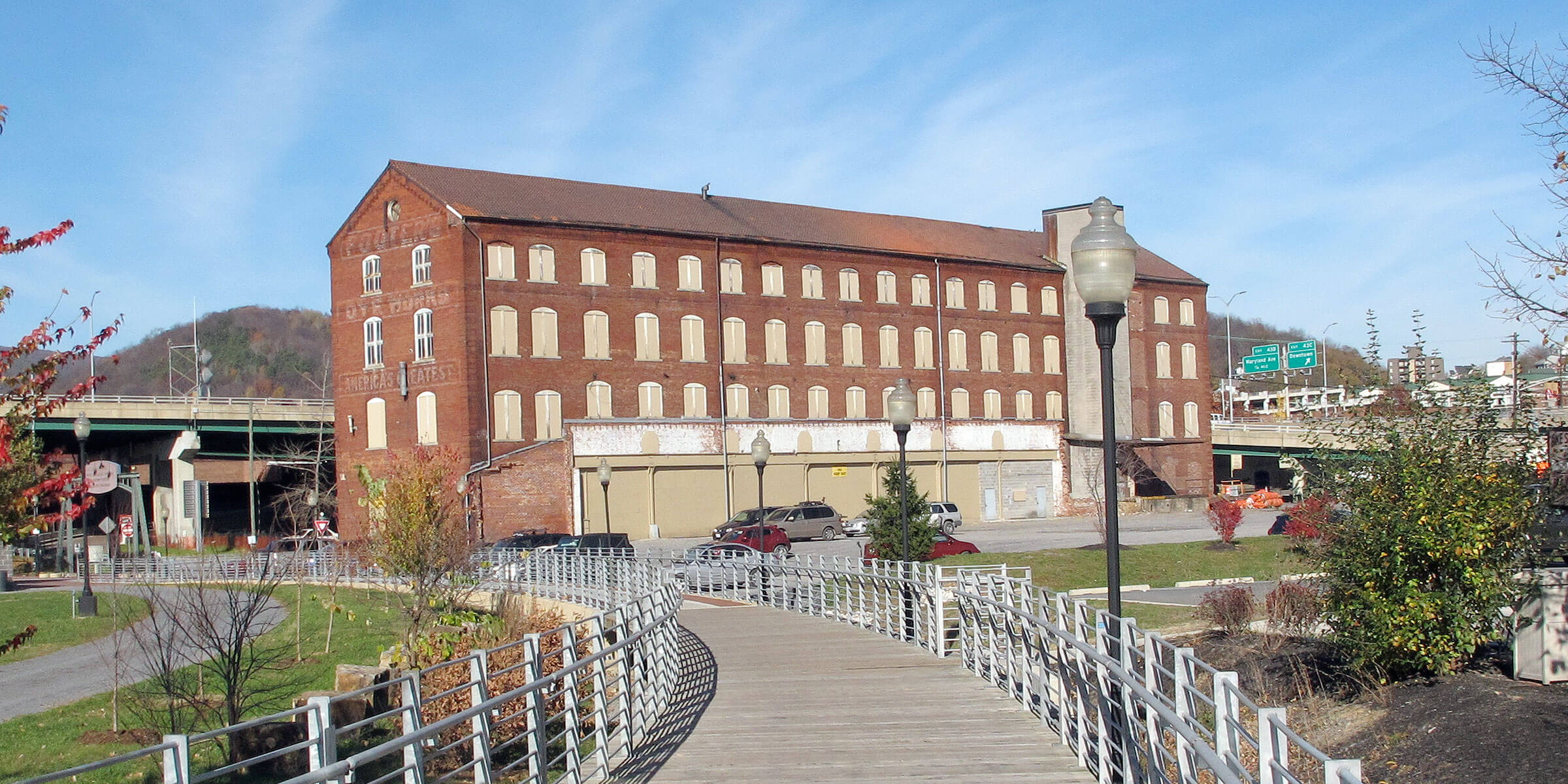 Outside the Footer's Dye Works Building where Dig Deep Brewing Co. is located in Cumberland, Maryland