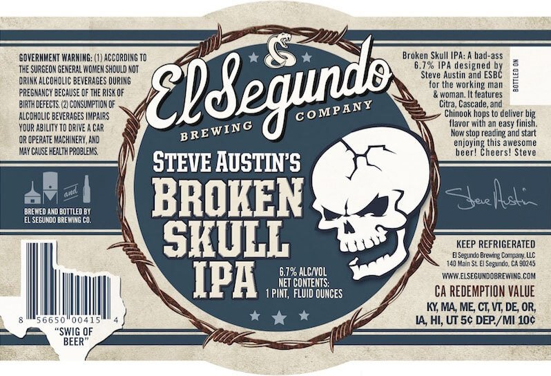 Label design for 16 oz. bottles of Steve Austin's Broken Skull IPA by El Segundo Brewing Company