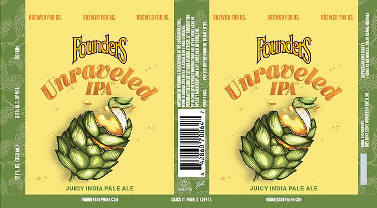 Label design for 12 oz. cans of the Unraveled IPA by Founders Brewing Co.