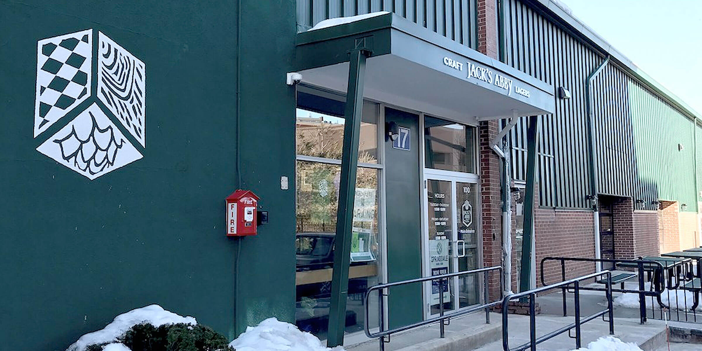Outside the entrance to Jack's Beer Hall & Kitchen at Jack's Abby Craft Lagers in Framingham, Massachusetts