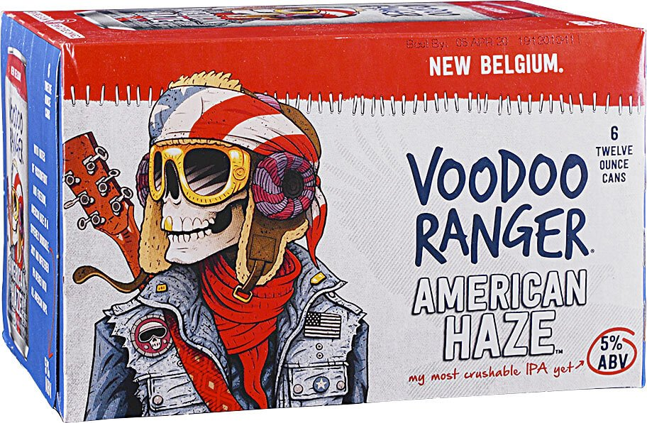 Packaging design for six packs of 12 oz. cans of the American Haze by New Belgium Brewing Company