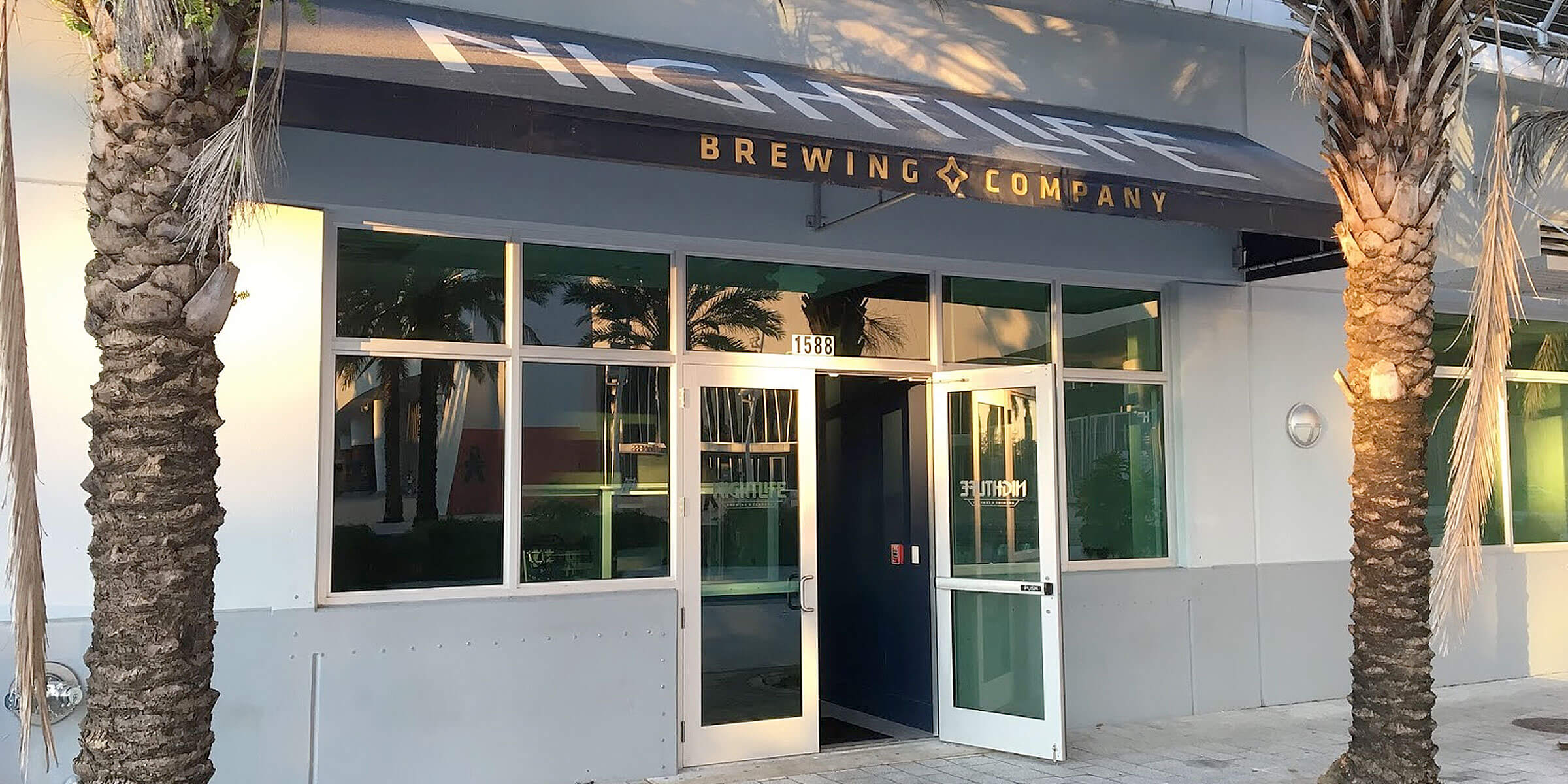 Outside the entrance to NightLife Brewing Co. in Miami, Florida