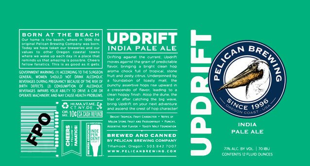 Label design for 12 oz. cans of the Updrift IPA by Pelican Brewing Company