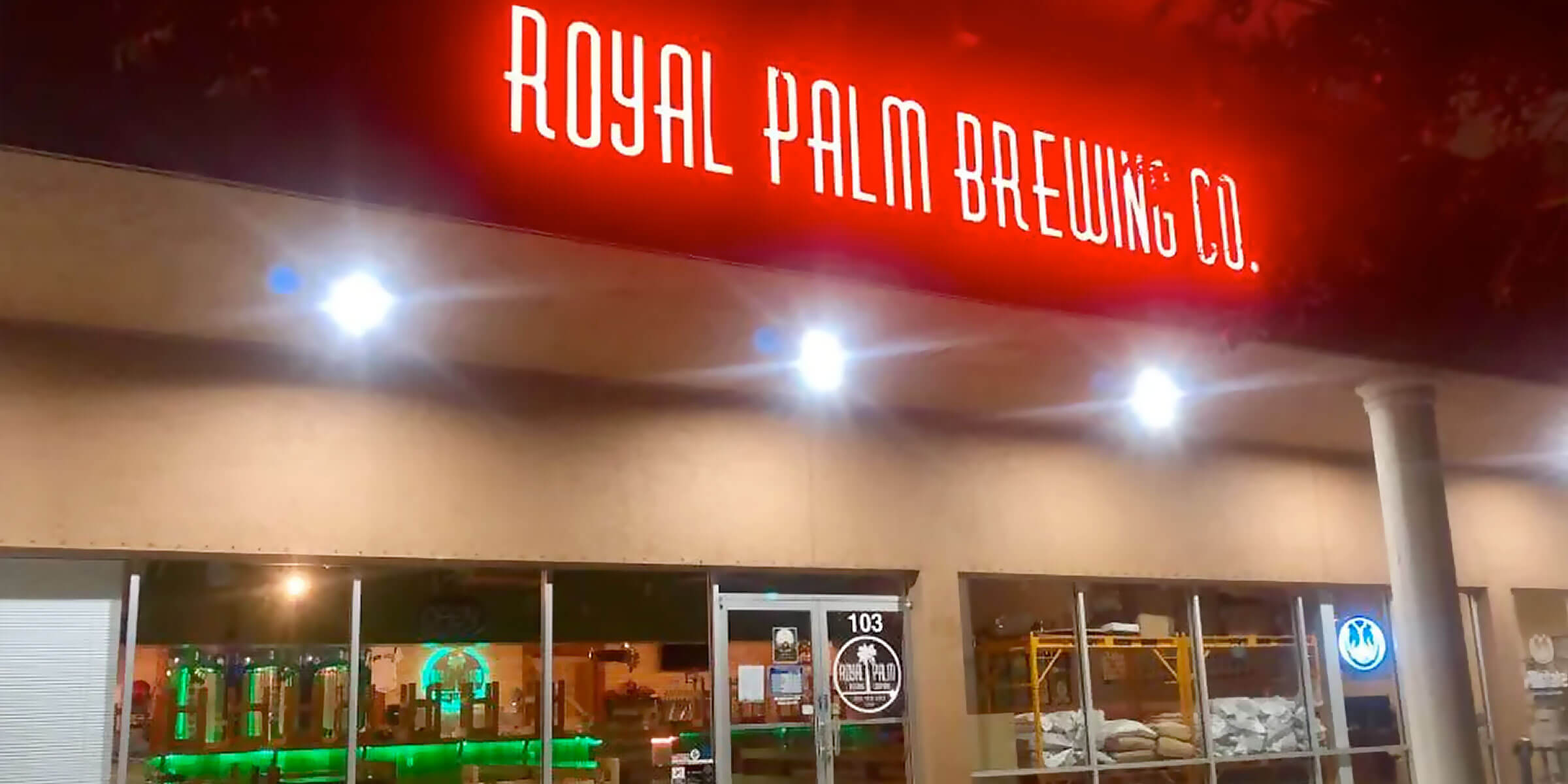 Outside the Royal Palm Brewing Company in Royal Palm Beach, Florida