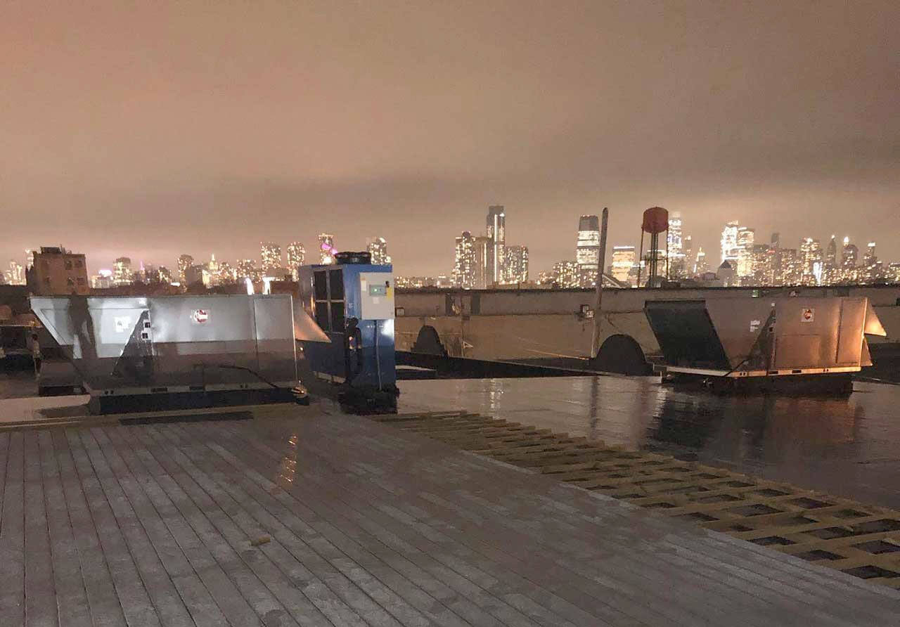 Rooftop view atop 902 Brewing Company in Jersey City, New Jersey