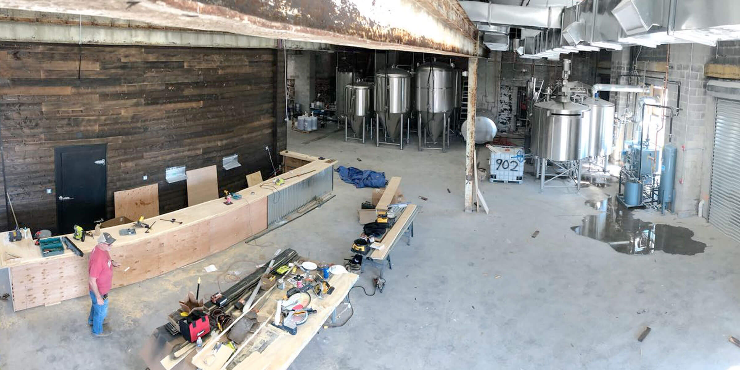 The taproom and brewhouse in progress inside the new 902 Brewing Company location in Jersey City, New Jersey