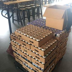 A pallet of beer sits in Dirtbag Ales Brewery & Taproom before delivery to quarantined troops at Fort Bragg. If you'd like to donate, call the taproom at 910-426-2537.