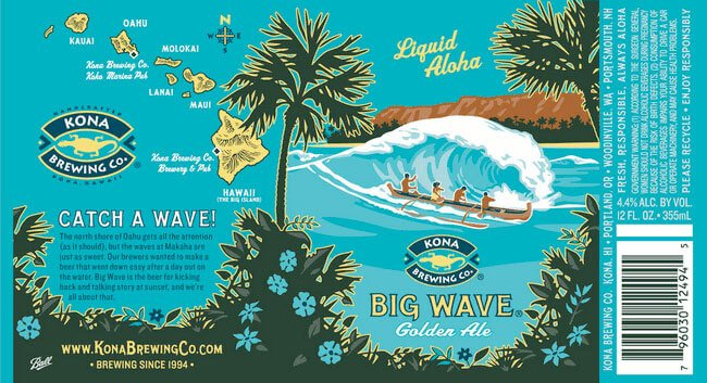 Label art for the Big Wave Golden Ale by Kona Brewing Co.