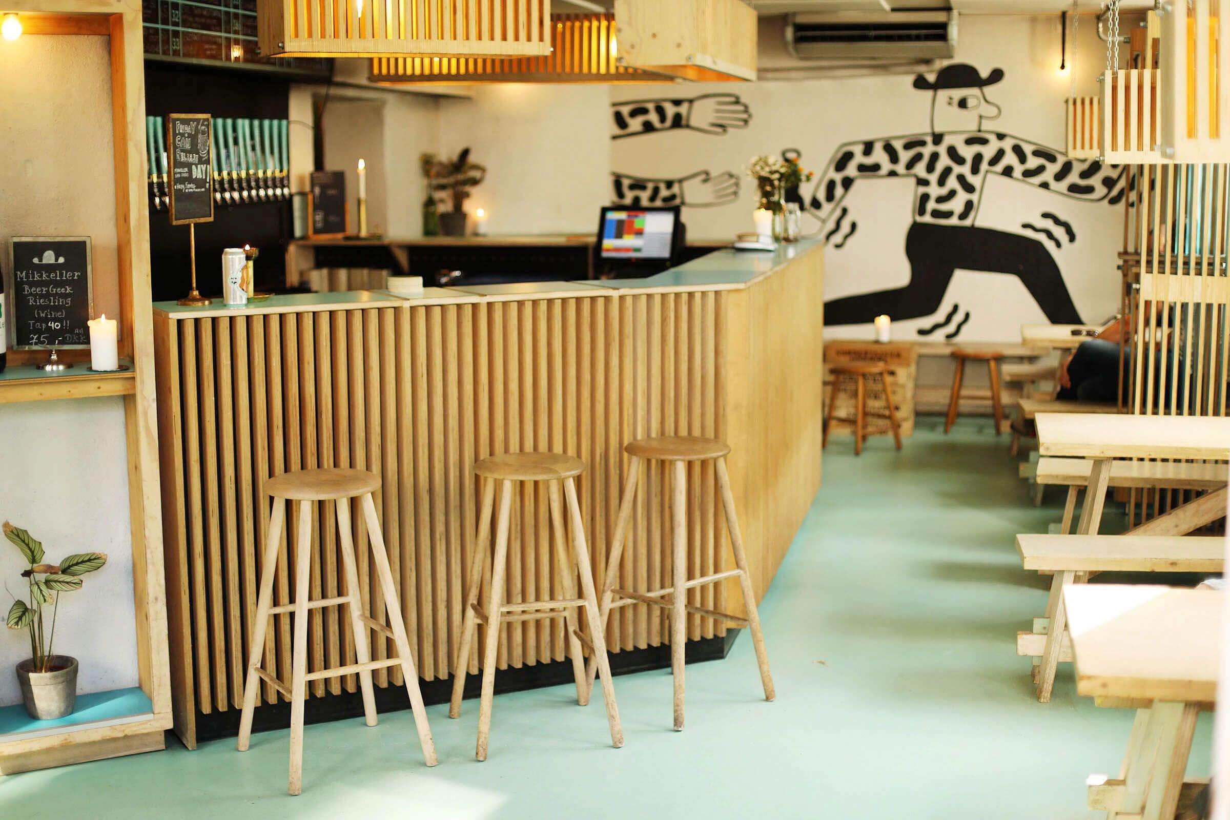 Inside the taproom at Mikkeller Headquarters in Copenhagen, Denmark