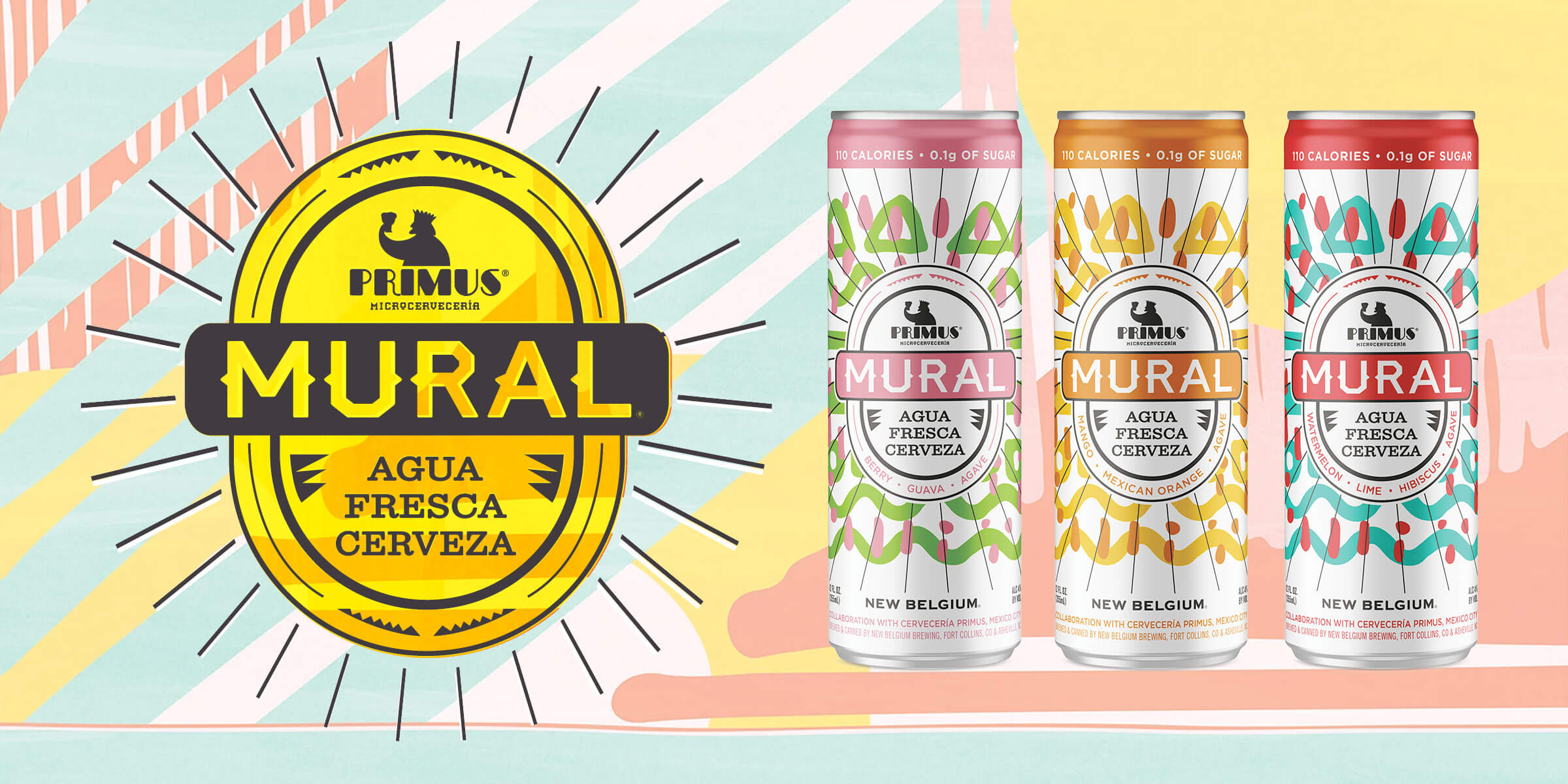 Mango Orange and Berry Guava join Watermelon Lime in the new Mural Agua Fresca Cerveza Variety Pack from New Belgium Brewing Company and Cervecería Primus