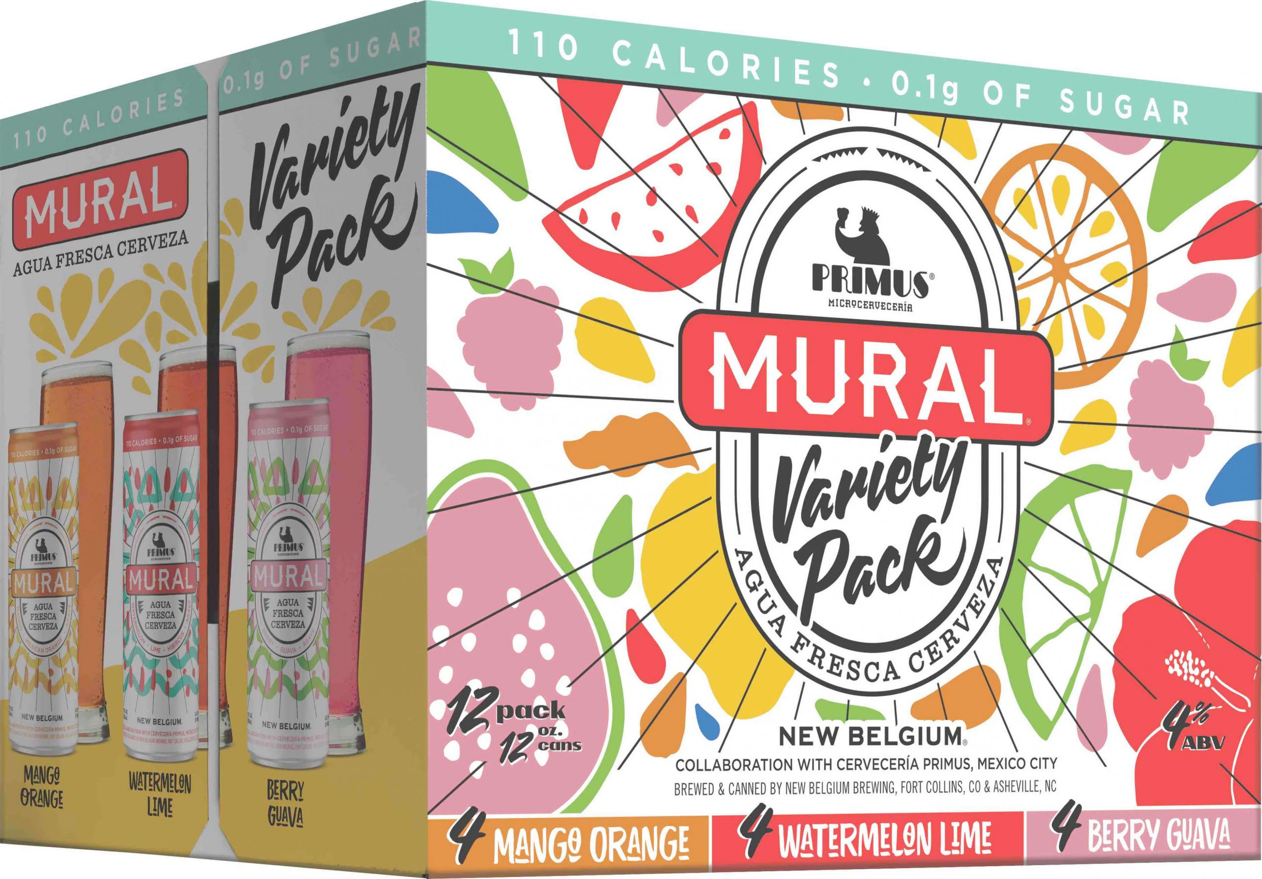 Packaging design for 12 packs of 12 oz. slim cans of the Mural Agua Fresca Cerveza Variety Pack by New Belgium Brewing Company and Cervecería Primus