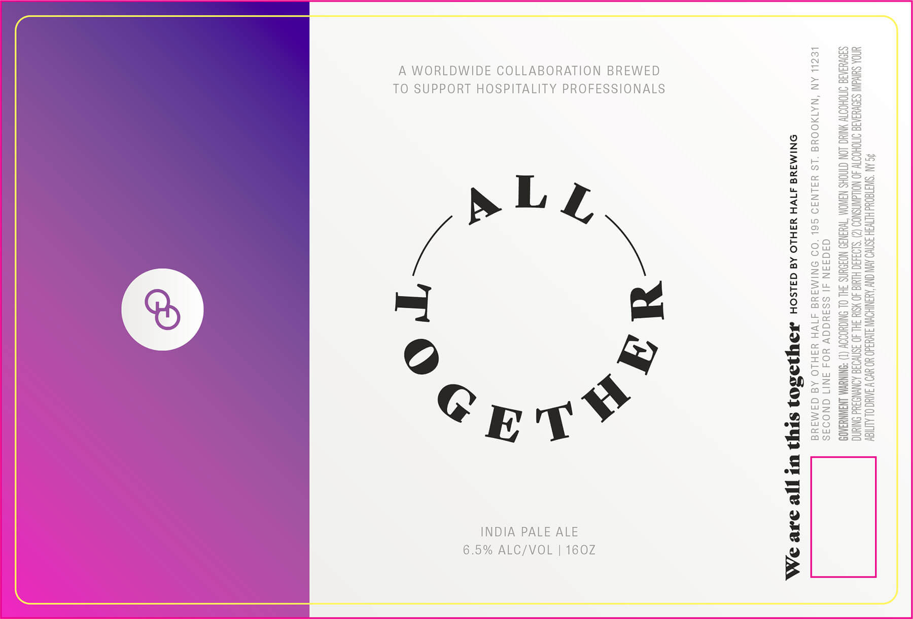 Label design for 16 oz. cans of the All Together by Other Half Brewing Company