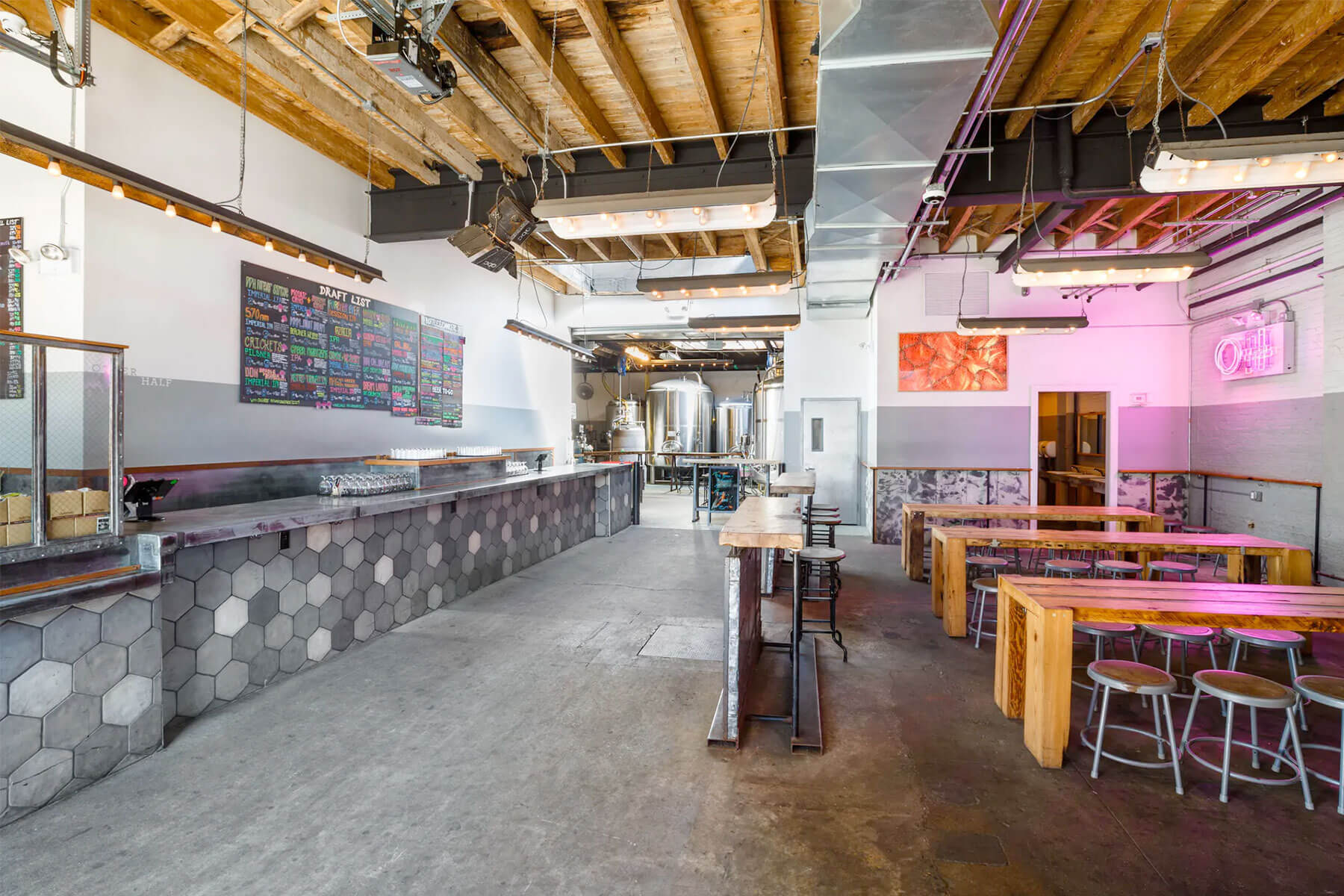 Inside the taproom at Other Half Brewing Company in Brooklyn, New York