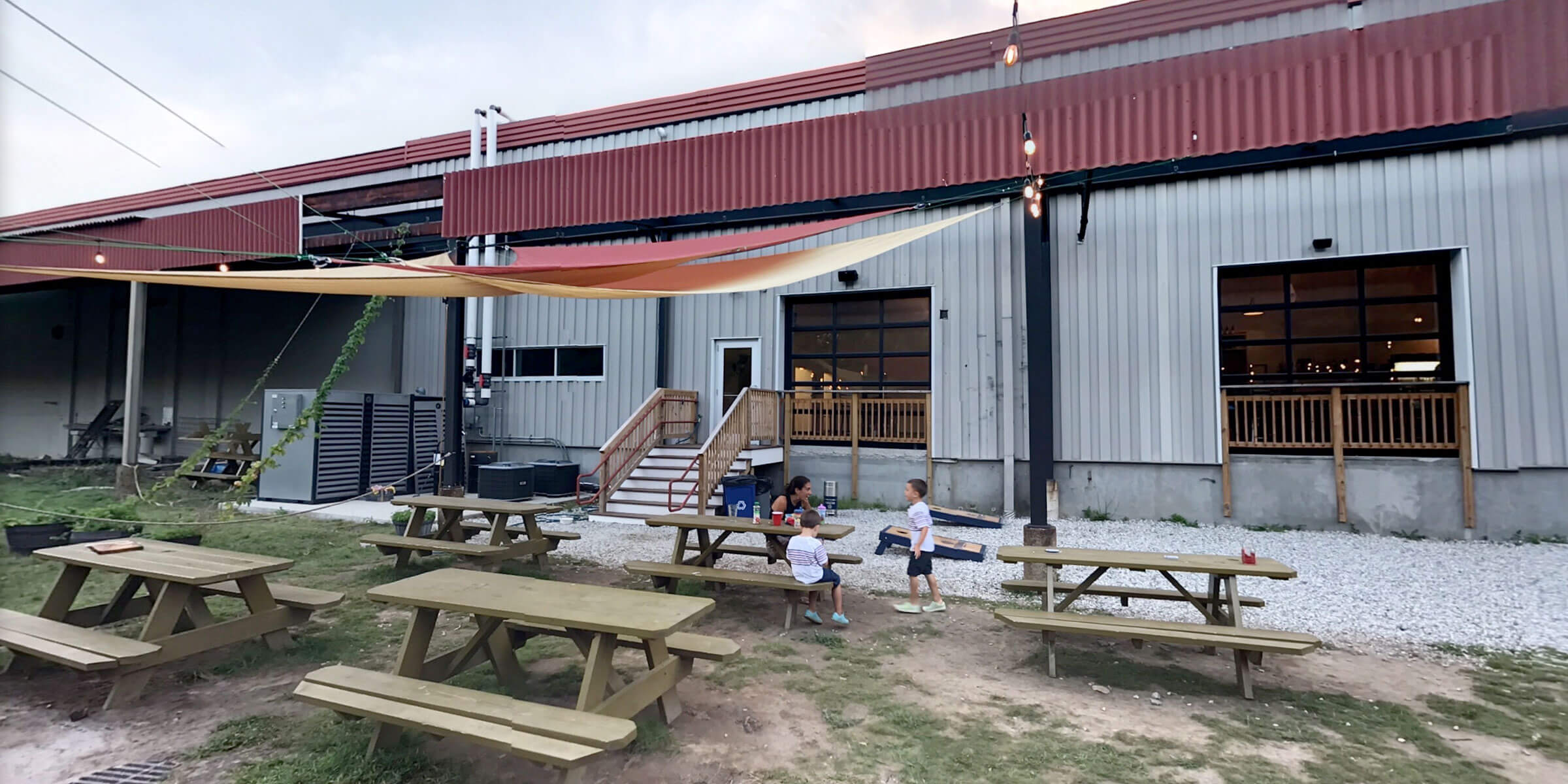 Outside in the beer garden at Riverwalk Brewing Co. in Newburyport, Massachusetts