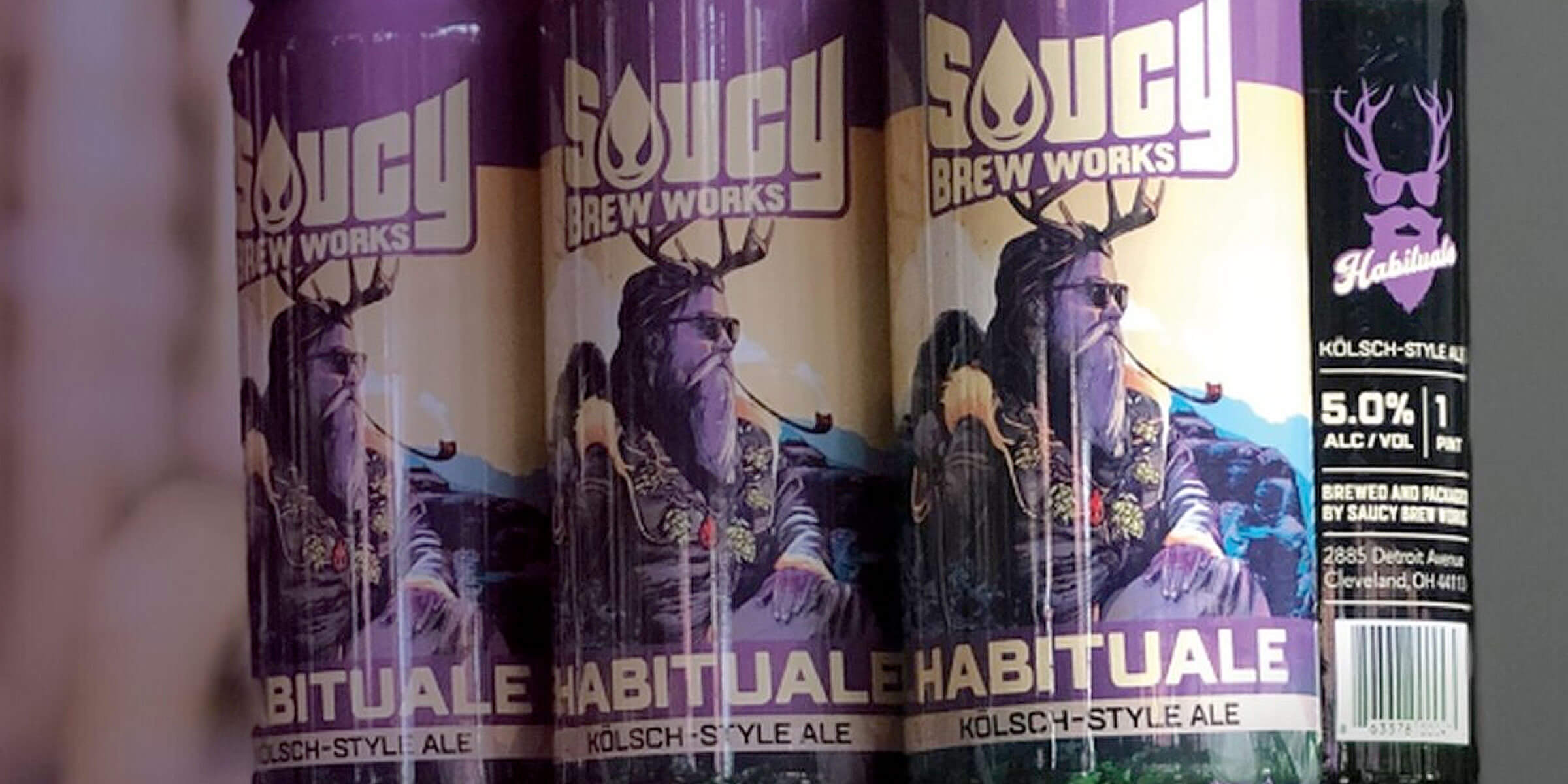 Six pack of 12 oz. cans of Habituale by Saucy Brew Works