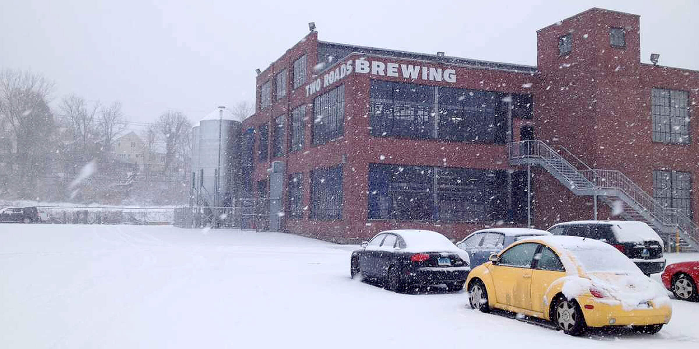 Outside Two Roads Brewing Co in Stratford, Connecticut