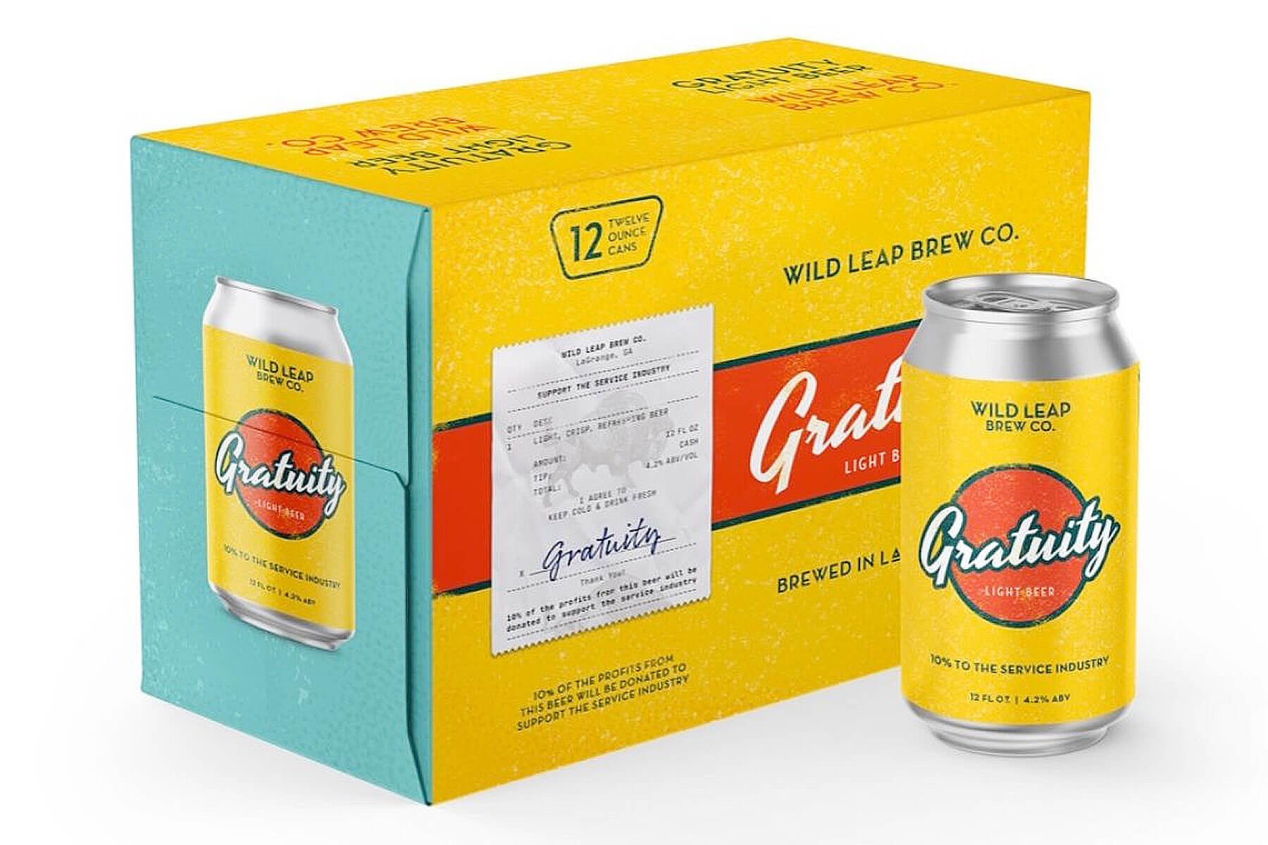 Packaging design for 12 packs of 12 oz. cans of the Gratuity Light Beer by Wild Leap Brew Co.