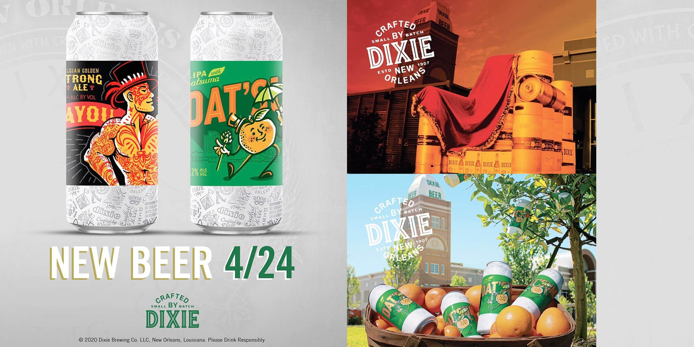 Dixie Brewing Company announced the release of two new Crafted by Dixie innovation beers — DAT'SUMA India Pale Ale and Bayou King Golden Strong Ale.