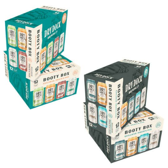 Packaging redesign of Booty Box variety packs by Dry Dock Brewing Company