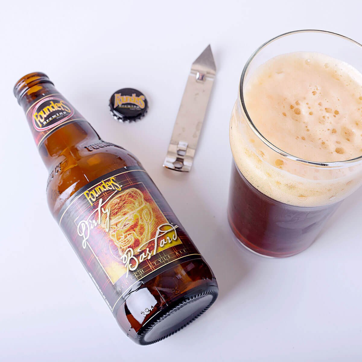 Dirty Bastard is a Scottish-style Ale by Founders Brewing Co. that's malty and sweet with a complex balance of bitterness.